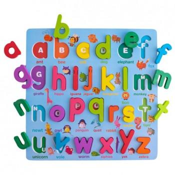Encajable abecedario en minúscula alto relieve (26 piezas)