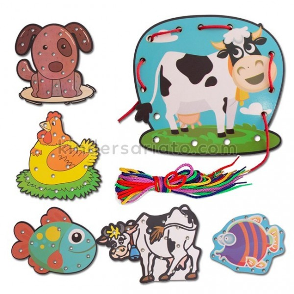 Plantillas de animales para enhebrar y coser (6 piezas)