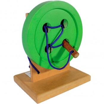 Montessori botón de madera...