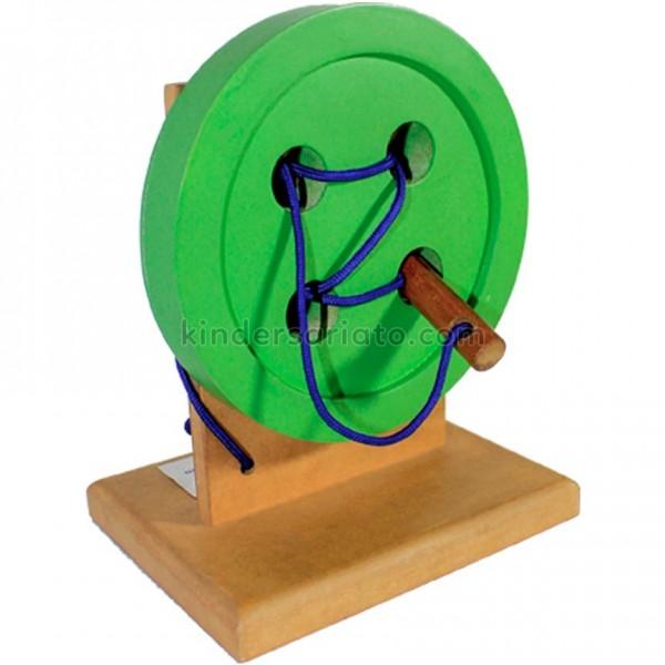 Montessori botón de madera para coser