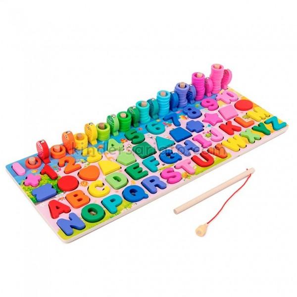 Tablero Montessori escalera de peces (Numeros y abecedario)