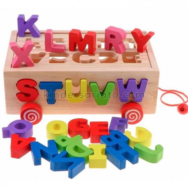 Carro encajable abecedario (Wooden box pulling toy car)